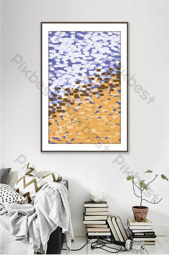 مجردة رسمت باليد كتلة اللون المياه غرفة المعيشة اليابانية شخصية اللوحة الزخرفية الديكور والنموذج قالب PSD