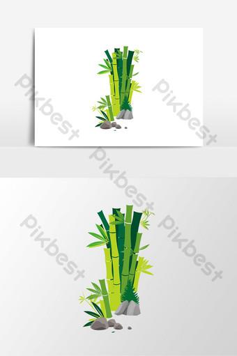 elemen bambu tanaman hijau vektor yang digambar tangan Elemen Grafis Templat AI