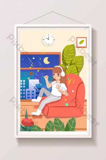卡通室內房屋暑假大小通用飛濺屏幕圖 插畫 模板 PSD