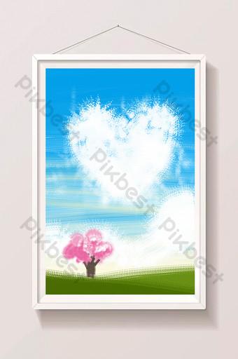 الأزرق الصيف المناظر الطبيعية التوضيح على شكل قلب الغيوم ومن ناحية رسم الخلفية الرسم التوضيحي قالب PSD