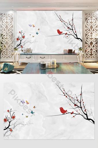 pared de fondo de tv floral lenguaje de pájaro simple jaspeado Decoración y modelo Modelo PSD