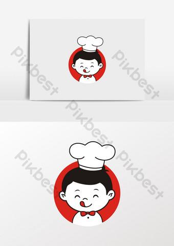 caricatura, pequeño, chef, niño, en, sombrero, imagen Elementos graficos Modelo CDR