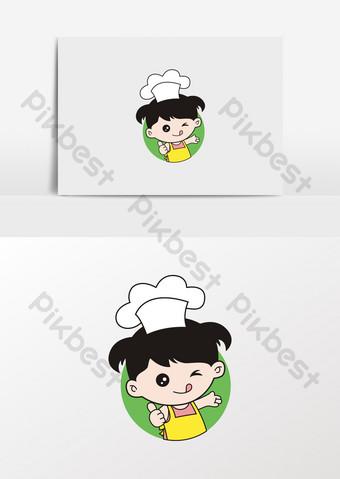 imagen de horneado de comida de niña de dibujos animados Elementos graficos Modelo CDR