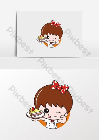 كارتون فتاة صغيرة في صورة الشيف صنع كعكة الحلوى صور PNG قالب CDR