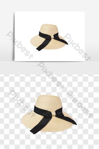 القوس الشاطئ قبعة كبيرة الحواف اكسسوارات الملابس العناصر التجارة الإلكترونية قالب PSD