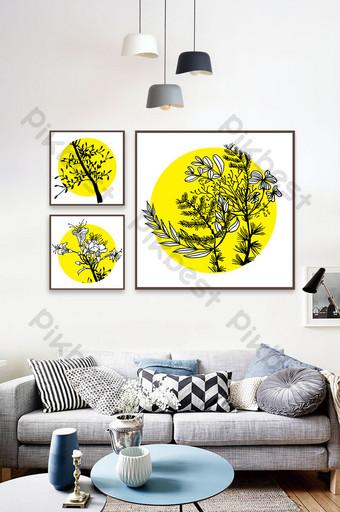 Tableau décoratif simple triptyque végétal peint à la main Décoration et modèle Modèle AI
