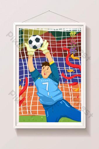 Dessin animé plat passion coupe du monde gardien de but football exercice sport illustration Illustration Modèle PSD