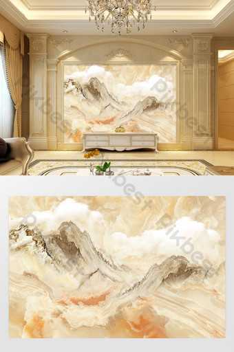 Marble Customized Mountain River Art Cloud Sea Background Wall Decors & 3D Models Template TIF