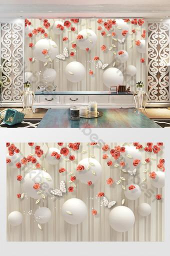 أزياء رومانسية 3d ثلاثي الأبعاد روز زهرة خلفية الجدار الديكور والنموذج قالب PSD