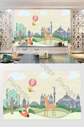 Carte de mur de fond de maison pour enfants ballon animal mignon dessin animé minimaliste nordique Décoration et modèle Modèle TIF