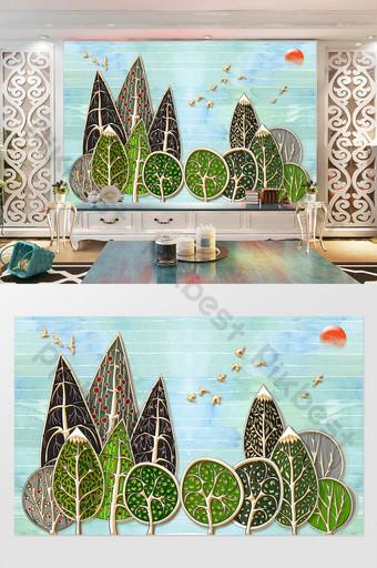 simple infantil dibujos animados árboles puesta de sol habitación de los niños tv fondo pared Decoración y modelo Modelo PSD