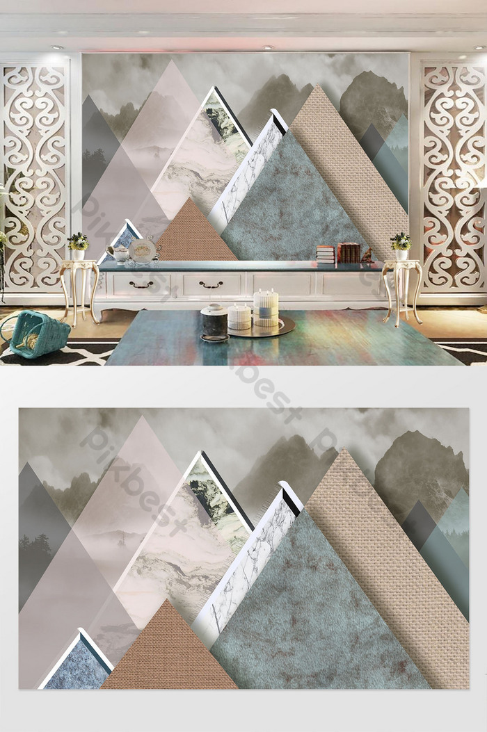 Modern Minimalist Aesthetic Personality Geometric Collage Marble Landscape Background Wall