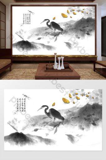 النمط الصيني الجديد زن الذهبي البلشون الأبيض المناظر الطبيعية فراشة الزهور العشب خلفية الجدار الديكور والنموذج قالب PSD