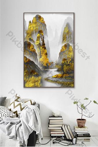 金色抽像中國風景無框畫 裝飾·模型 模板 TIF