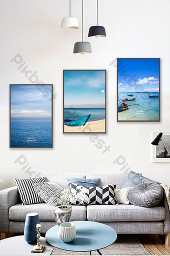 Nordic style modern minimalist blue sea view triptych decorative painting nautical hanging Decors & 3D Models Template PSD