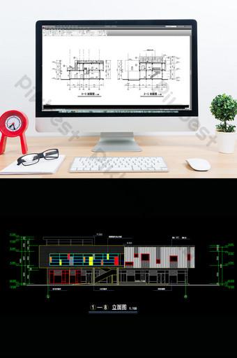 construcción de edificio de tienda comunitaria dibujo cad Decoración y modelo Modelo DWG