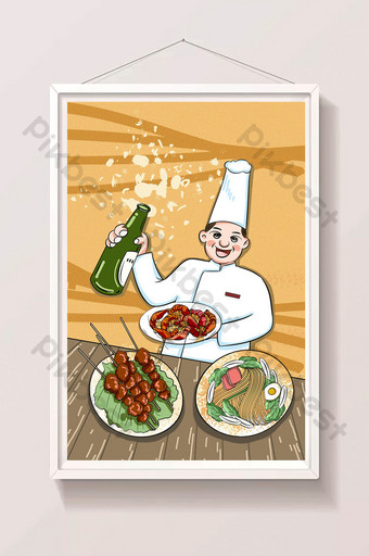 Summer beer barbecue food illustration with map poster Illustration Template PSD