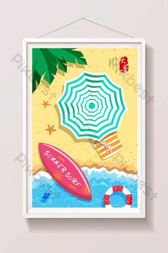 أزياء الصيف بسيطة وجديدة صغيرة كبيرة على شاطئ البحر عطلة الشمسية شقة الرسم التوضيحي قالب PSD