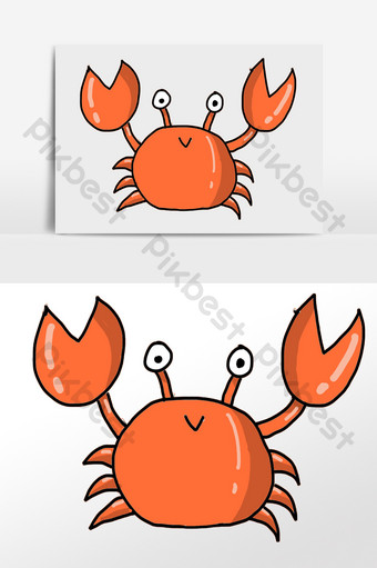red sea crab illustration element PNG Images Template PSD