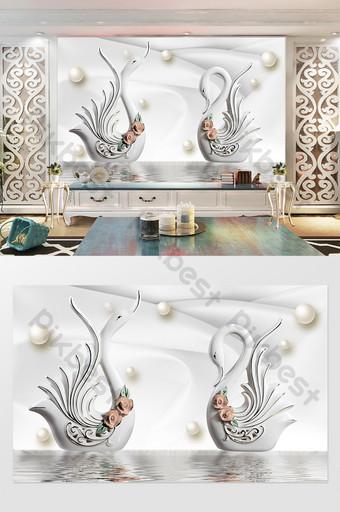 Pared tridimensional del fondo de la perla del cisne de la porcelana blanca elegante de la plata tridimensional 3d Decoración y modelo Modelo PSD