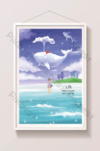 beautiful clear cute whale drawing illustration by the sea Illustration Template PSD