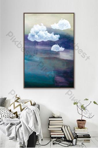 現代簡約藝術抽象藍天白雲裝飾畫臥室掛畫 裝飾·模型 模板 PSD