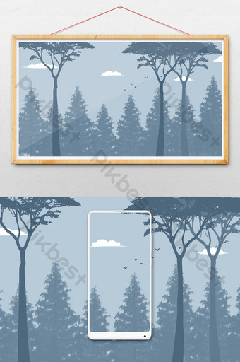 smoky gray woods senior ash forest artistic conception drawing background image Illustration Template PSD