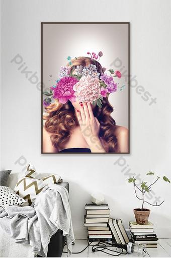 era abstracta figura femenina silueta sala de estar moderna decoración creativa pintura Decoración y modelo Modelo PSD