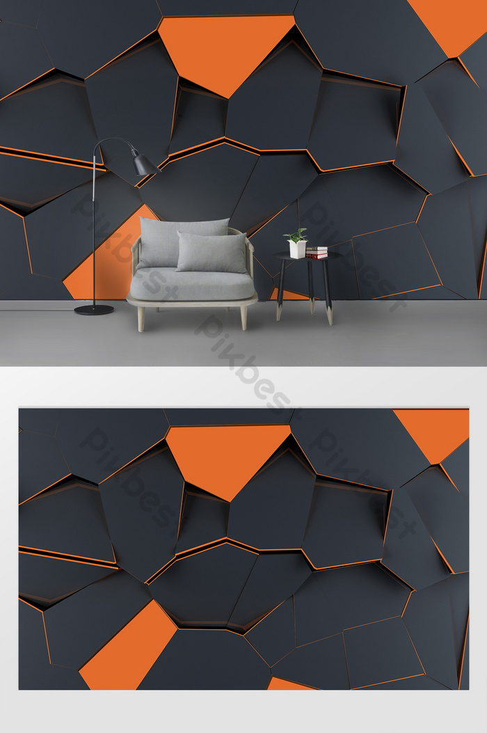 simple modern 3d abstract geometric color block background wall