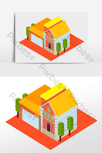 Cartoon isometric building villa house vector elements PNG Images Template AI