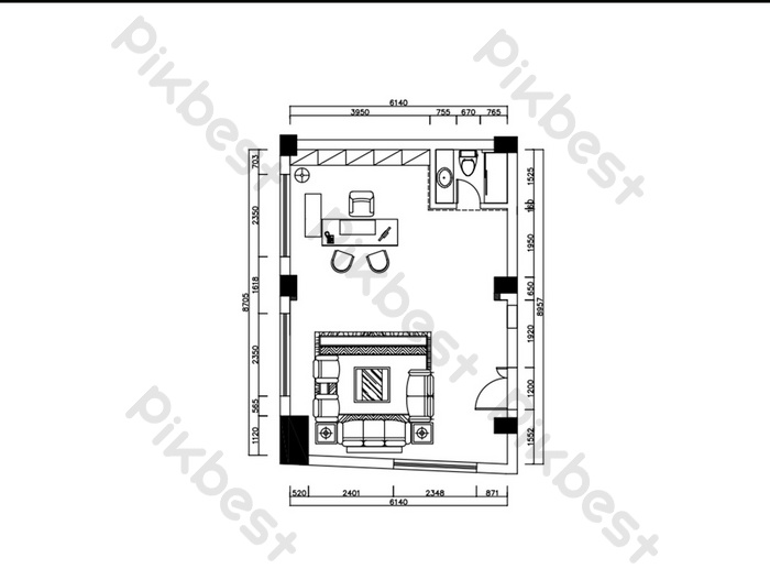 General manager office floor plan CAD