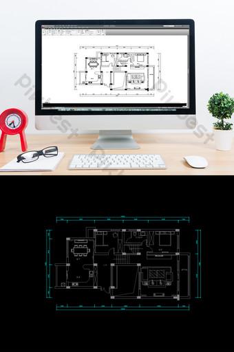Dessins CAO de plan d'étage de villa d'amélioration de l'habitat Décoration et modèle Modèle DWG