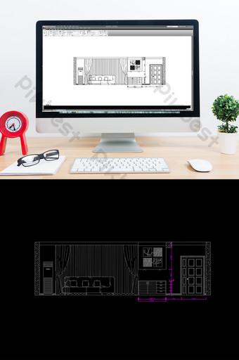 Dessins d'élévation de mur de fond de canapé d'amélioration de l'habitat CAD Décoration et modèle Modèle DWG