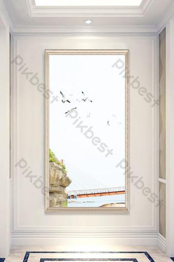 Customized wooden bridge sea view landscape painting entrance Decors & 3D Models Template PSD