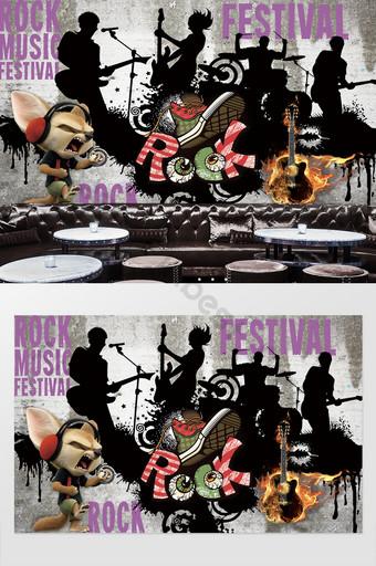 moderno minimalista hip hop rock bar restaurante ktv herramientas pared de fondo Decoración y modelo Modelo PSD