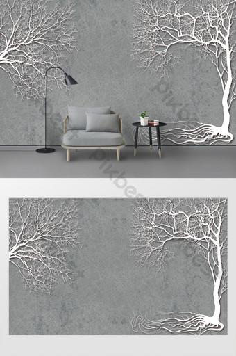 moderno minimalista ramas de árboles silueta tv fondo pared Decoración y modelo Modelo PSD