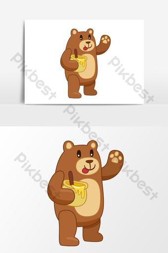 تحمل أكل العسل الكرتون مرسومة باليد ناقلات العناصر صور PNG قالب AI