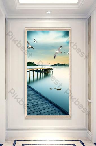 Customization of ship wooden bridge seagull sea view landscape painting entrance Decors & 3D Models Template PSD