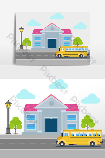 elemento de vector de edificio de autobús escolar fresco de dibujos Elementos graficos Modelo AI