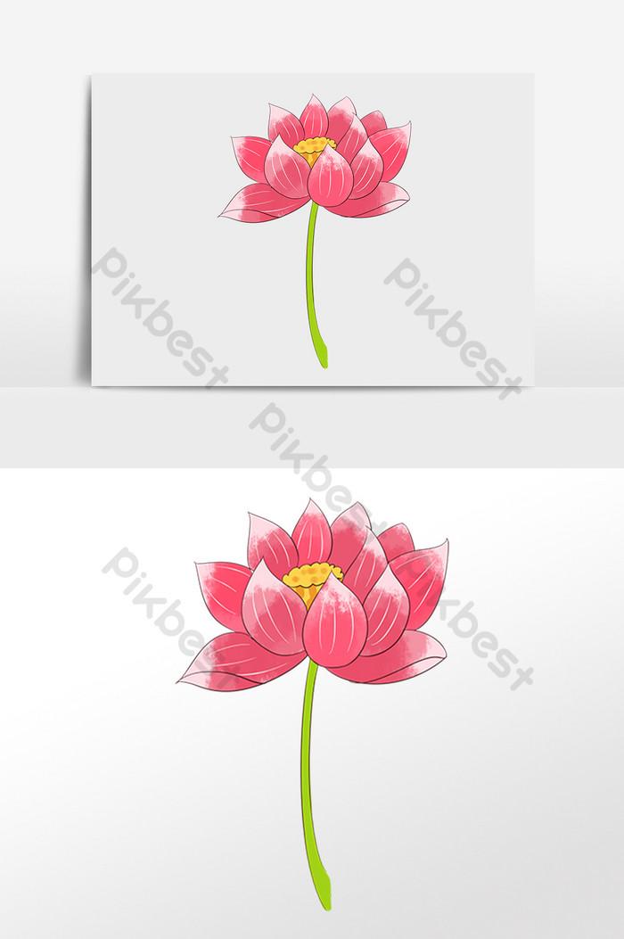 Digambar Tangan Elemen Ilustrasi Bunga Lotus Elemen Grafis Templat