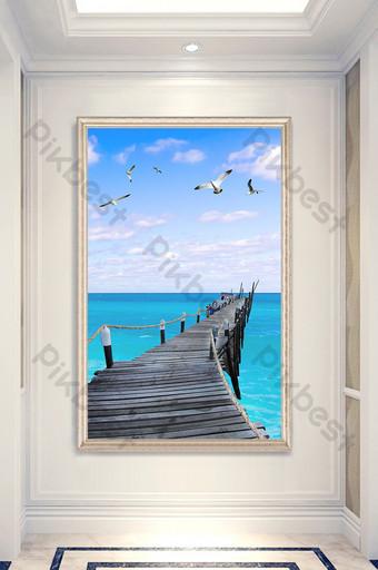 Nordic style modern minimalist wooden bridge sea view entrance decorative painting Decors & 3D Models Template PSD
