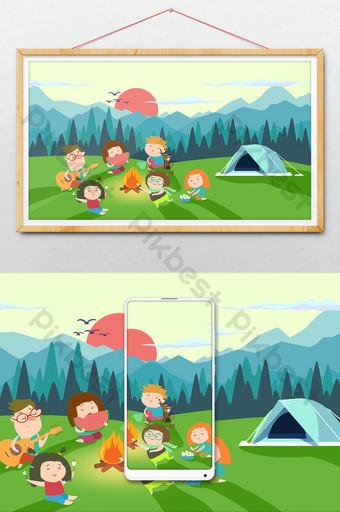 عطلة الصيف نزهة المخيم الصيفي الحياة في الهواء الطلق نار الطرف التوضيح الرسم التوضيحي قالب PSD