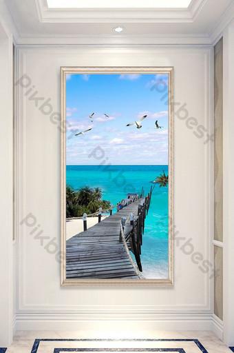 Blue sea view wooden bridge seagull landscape painting entrance custom Decors & 3D Models Template PSD