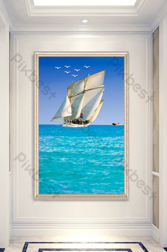 Smooth sailing oil painting European Nordic sea entrance decorative Decors & 3D Models Template PSD