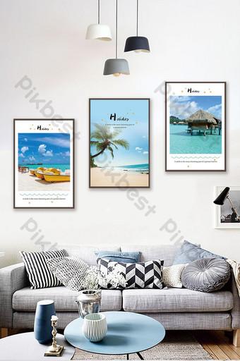 Small fresh Mediterranean blue sea landscape living room decoration painting Decors & 3D Models Template PSD