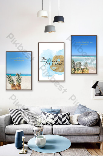 Nordic ins modern minimalist pineapple beach sea view triptych decorative painting Decors & 3D Models Template PSD