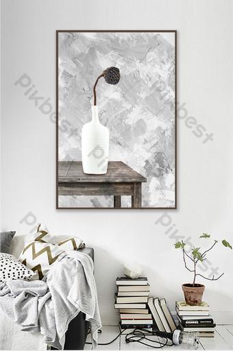 定制現代藝術黑白花瓶荷花裝飾畫臥室掛 裝飾·模型 模板 PSD
