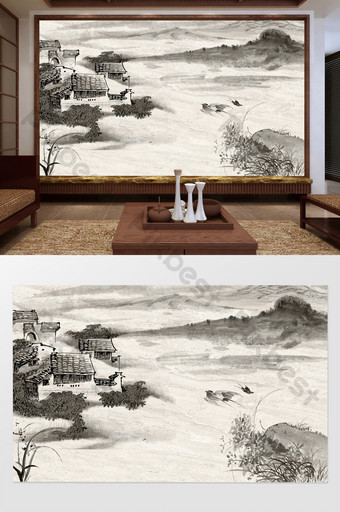 New Chinese ink and wash Youju play bird picture background wall decoration customization Decors & 3D Models Template PSD