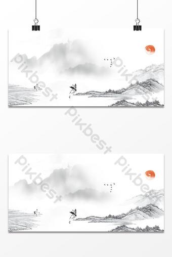 imagen de fondo de diseño de tinta de estilo chino retro Fondos Modelo PSD