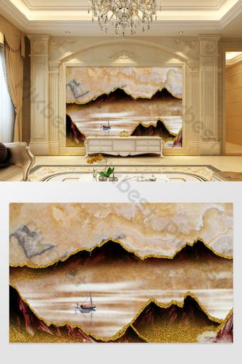 高端定制大理石紋理背景牆山水船 裝飾·模型 模板 PSD